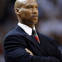 24 January 2012: Cleveland Cavaliers head coach Byron Scott is seen during the Miami Heat 92-85 victory over the Cleveland Cavaliers at the AmericanAirlines Arena, Miami, Florida, USA.