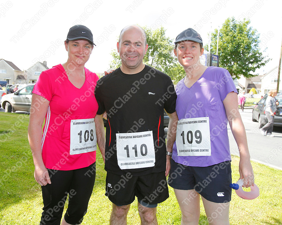 09/06/12<br /> June Brigdale, Declan and Anne McInerney pictured at the Clarecastle Walk/Run/Jog organised by Clarecastle District Day Care Centre on Saturday.<br /> Pic: Don Moloney/Press 22