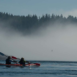 Kayakers Plying Obstruction Pass, Orcas Island, San Juan Islands, Washington, US