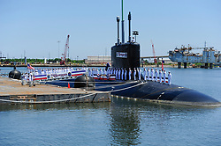 120602-N-WL435-655<br /> PASCAGOULA, Miss. (June 2, 2012) Sailors assigned to the Virginia-class attack submarine USS Mississippi (SSN 782) man the ship during the commissioning ceremony for the Navy's ninth Virginia-class attack submarine. (U.S. Navy photo by Mass Communication Specialist 1st Class Peter D. Lawlor/Released)