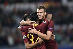October 2, 2018 - Rome, Rome, Italy - Justin Kluivert of AS Roma celebrates scoring fourth goal during the UEFA Champions League group stage match between Roma and FC Viktoria Plzen at Stadio Olimpico, Rome, Italy on 2 October 2018. (Credit Image: © Giuseppe Maffia/NurPhoto/ZUMA Press)