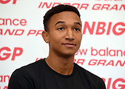 Donavan Brazier during a  press conference prior to the New Balance Indoor Grand Prix in Boston on Friday, Feb. 9, 2018.