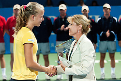 Johanna Larsson of Sweden receiving trophy for second place from Mima Jausovec, President of the Organizing Committee at final match of Singles at Banka Koper Slovenia Open WTA Tour tennis tournament, on July 25, 2010 in Portoroz / Portorose, Slovenia. (Photo by Matic Klansek Velej / Sportida)