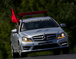 30.07.2011, Hungaroring, Budapest, HUN, F1, Grosser Preis von Ungarn, Hungaroring, im Bild Ein Mercedes AMG von der Race Control sperrt die Strecke mit einer roten Fahne // during the Formula One Championships 2011 Hungarian Grand Prix held at the Hungaroring, near Budapest, Hungary, 2011-07-30, EXPA Pictures © 2011, PhotoCredit: EXPA/ J. Feichter