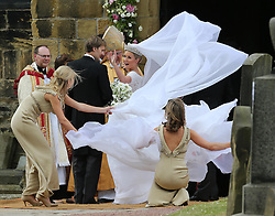 Lady Melissa Percy arriving for her wedding to Mr.Thomas van Straubenzee , with bridesmaid Chelsy Davy (left) at St.Michaels Church, Alnwick, Northumberland,  Saturday, 22nd June 2013<br /> Picture by:  Stephen Lock / i-ImagesBridesmaid Chelsy Davy (left) at the Lady Melissa Percy and Thomas van Straubenzee wedding at St.Michaels Church, Alnwick, Northumberland after their wedding ,Saturday, 22nd June 2013<br /> Picture by:  Stephen Lock / i-Images