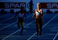Great Britain's Lee Mcconnel (C)  competes during the first round of the women's 400m at the 2010 European Athletics Championships at the Olympic Stadium in Barcelona on July 27, 2010