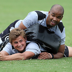 DURBAN, SOUTH AFRICA -  JP Pietersen with Patrick Lambie  during the Cell C Sharks training session at Growthpoint Kings Par in Durban, South Africa. (Photo by Steve Haag)