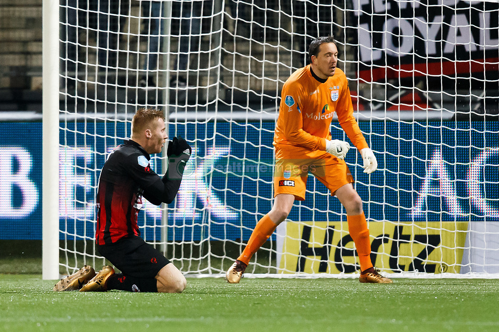 (L-R) Mike van Duinen of Excelsior, goalkeeper Diederik Boer of PEC Zwolle during the Dutch Eredivisie match between sbv Excelsior Rotterdam and PEC Zwolle at Van Donge & De Roo stadium on December 09, 2017 in Rotterdam, The Netherlands