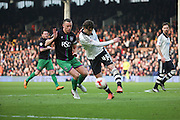 Fulham defender, Fernando Amorebieta (45) clearing ball during the Sky Bet Championship match between Fulham and Bristol City at Craven Cottage, London, England on 12 March 2016. Photo by Matthew Redman.