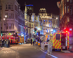 © Licensed to London News Pictures. 19/12/2013. London, UK Emergency services attend the scene of a roof collapse at the Apollo Theatre on Shaftesbury Avenue, in London's Westend on December 19, 2013. Photo credit : Arnaud Stephenson/LNP
