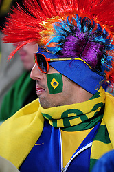Brazil fans get in the mood before the 2010 FIFA World Cup South Africa Group G match between Brazil and North Korea at Ellis Park Stadium on June 15, 2010 in Johannesburg, South Africa.