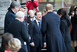 © Licensed to London News Pictures. 18/01/2018. Cardiff, UK. Prince Harry and Meghan Markle meet Secretary of State for Wales Alun Cairns at Cardiff Castle, before visiting the Wales Culture Fair. Photo credit : Tom Nicholson/LNP