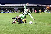 Forest Green Rovers Dale Bennett(6) is tackled<br />  during the Vanarama National League match between Forest Green Rovers and Torquay United at the New Lawn, Forest Green, United Kingdom on 1 January 2017. Photo by Shane Healey.