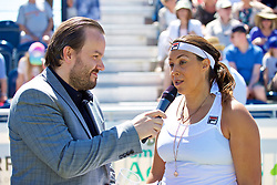 LIVERPOOL, ENGLAND - Sunday, June 24, 2018: Marion Bartolli (FRA) is interviewed by Radio City DJ Simon Greening during day four of the Williams BMW Liverpool International Tennis Tournament 2018 at Aigburth Cricket Club. (Pic by Paul Greenwood/Propaganda)