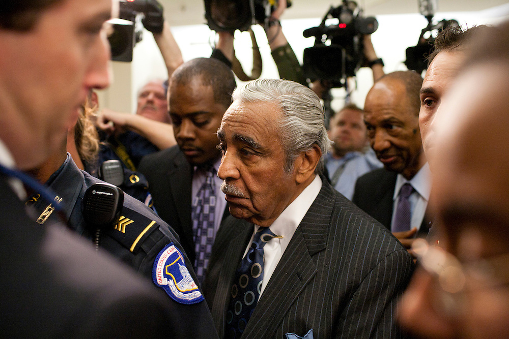 Rep. Charles Rangel (D-NY) waits for an elevator after the House ethics committee voted 9-1 to censure him for ethics violations on Capitol Hill on Thursday, November 18, 2010 in Washington, DC.