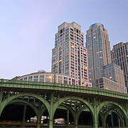 Trump Place apartment buildings on Riverside Boulevard on the Upper West Side of Manhattan, New York CIty, NY. The buildings face the Hudson River with the Old Miller Viaduct in the foreground.