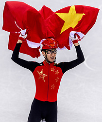 22-02-2018 KOR: Olympic Games day 13, PyeongChang<br /> Short Track Speedskating / Gold medal for Dajing Wu #6 of China