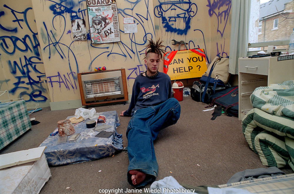 Young italian punk staying at St Agnes Place squat South London