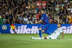 August 7, 2017 - Barcelona, Catalonia, Spain - FC Barcelona forward SUAREZ shoots a goal  during the Joan Gamper Trophy between FC Barcelona and Chapecoense at the Camp Nou stadium in Barcelona (Credit Image: © Matthias Oesterle via ZUMA Wire)