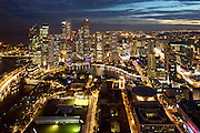 """Panoramic sunset view of Singapore River and Financial District (backgr.) City Hall (foregr. m.), New Supreme Court by Sir Norman Foster (""""UFO"""", r.)"""