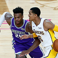 08 October 2017: Sacramento Kings guard Buddy Hield (24) defends on Los Angeles Lakers guard Jordan Clarkson (6) during the LA Lakers 75-69 victory over the Sacramento Kings, at the T-Mobile Arena, Las Vegas, Nevada, USA.