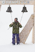 """According to Gerry Lopez, """"Bells are one of the things that Japan does better than anywhere else in the world."""" Ringing the bells under heavy snowfall on our first day in Niseko at Hanazono, Hokkaido, Japan."""