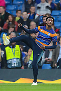 Chelsea midfielder Callum Hudson-Odoi (20) warms up prior to the Europa League quarter-final, leg 2 of 2 match between Chelsea and Slavia Prague at Stamford Bridge, London, England on 18 April 2019.