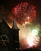 Roger Crowley / CrowleyPhotos.com<br /> <br /> Fourth of July fireworks light up the steeple of Christ Church in Montpelier Vermont.