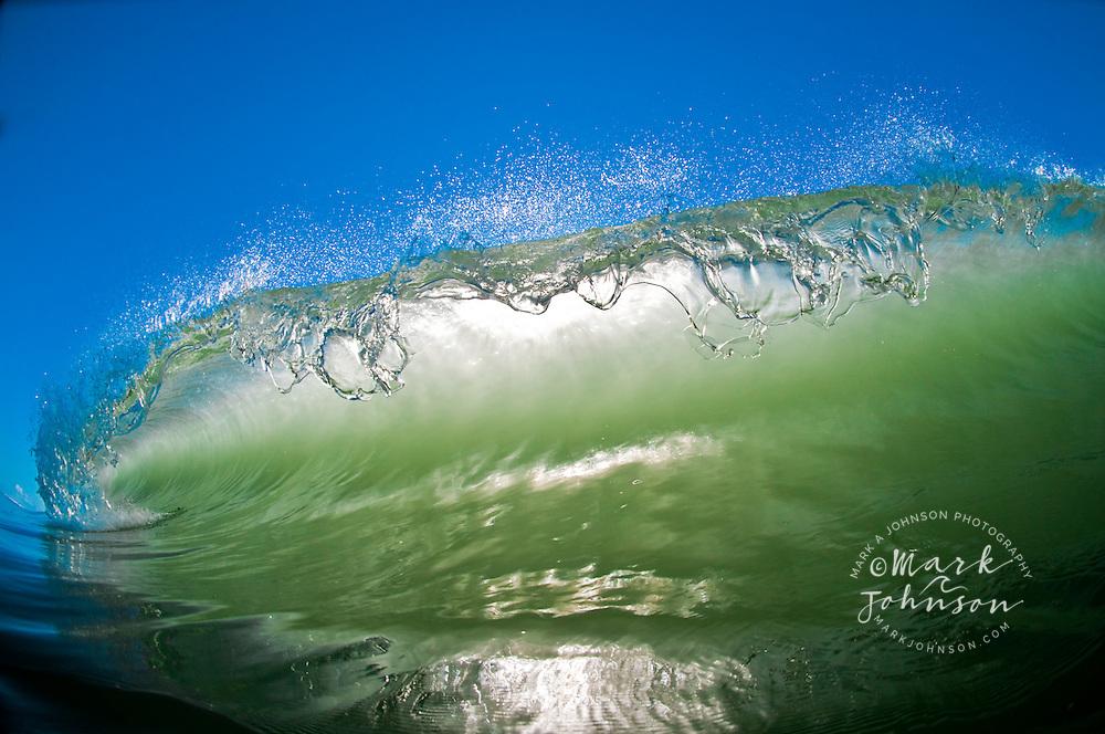 Backlit lip of breaking wave, The Spit, Gold Coast, Queensland, Australia