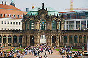 DRESDEN, GERMANY - MAY 22, 2010: Unidentified people visit famous Zwinger palace in Dresden, Germany.