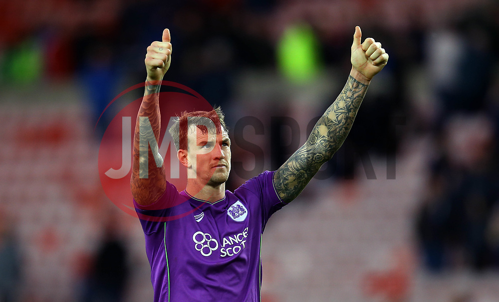 Aden Flint of Bristol City celebrates the win over Sunderland - Mandatory by-line: Robbie Stephenson/JMP - 28/10/2017 - FOOTBALL - Stadium of Light - Sunderland, England - Sunderland v Bristol City - Sky Bet Championship