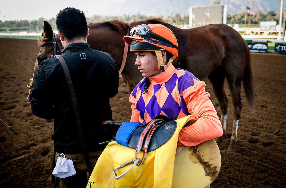 January 31 2015: Drayden Van Dyke after finishing 3rd in the Las Vigenes Stakes at Santa Anita Park in Arcadia CA. Alex Evers/ESW/CSM