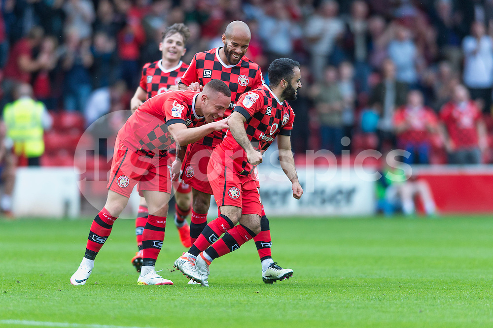 Erhun Öztümer of Walsall celebrates scoring his sides second goal during the EFL Sky Bet League 1 match between Walsall and Bury at the Banks's Stadium, Walsall, England on 27 August 2016. Photo by Darren Musgrove.