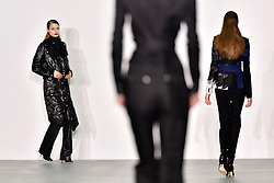 © Licensed to London News Pictures. 22/02/2016. Models on the catwalk at the ANTONIO BERARDI Autumn/Winter 2016 show. Models, buyers, celebrities and the stylish descend upon London Fashion Week for the Autumn/Winters 2016 clothes collection shows. London, UK. Photo credit: Ray Tang/LNP