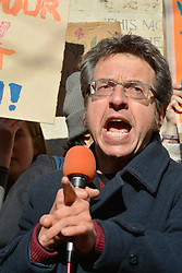 School pupils call for radical climate action in UK-wide strike in which more than 10,000 young people from around the country took part  - George Monbiot speaking at the Oxford rally UK. 15 February 2019