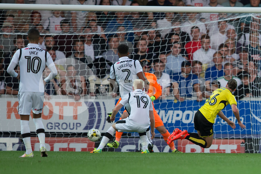 Jackson Irvine of Burton Albion heads his side in front during the EFL Sky Bet Championship match between Burton Albion and Derby County at the Pirelli Stadium, Burton upon Trent, England on 26 August 2016. Photo by James Williamson.