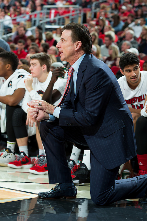 Louisville head coach Rick Pitino in the second half. The University of Louisville hosted Eastern Kentucky University, Saturday, Dec. 17, 2016 at The KFC Yum Center in Louisville. Louisville won 87-56.