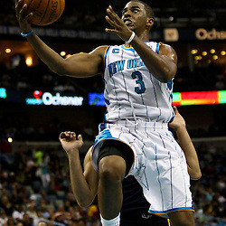April 11, 2011; New Orleans, LA, USA; New Orleans Hornets point guard Chris Paul (3) against the Utah Jazz during the second half at the New Orleans Arena. The Jazz defeated the Hornets 90-78.  Mandatory Credit: Derick E. Hingle