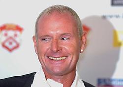 PAUL GASCOIGNE NEW MANAGER RAISES A SMILE AT PRESS CONF 27/10/05