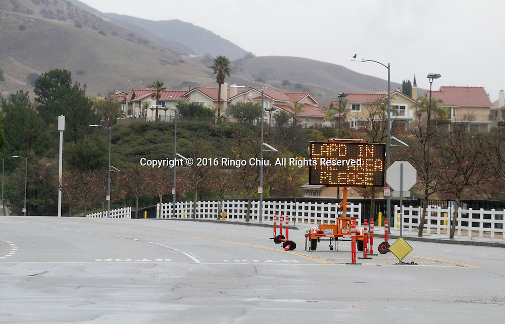 A sign warning sign is posted near the Aliso Canyon storage facility at the Porter Ranch area of Los Angeles, on January 6, 2015.  California Gov. Jerry Brown declared a state of emergency today in the Porter Ranch area due to the continuing leak of natural gas from the Aliso Canyon storage facility. The leak at Porter Ranch started in October, and likely won&rsquo;t be fixed for at least two more months. Officials have relocated several thousand residents who said the stench made them sick. (Photo by Ringo Chiu/PHOTOFORMULA.com)<br /> <br /> Usage Notes: This content is intended for editorial use only. For other uses, additional clearances may be required.