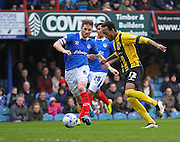 Shrewsbury Town defender Cameron Gayle on the ball during the Sky Bet League 2 match between Portsmouth and Shrewsbury Town at Fratton Park, Portsmouth, England on 28 March 2015. Photo by Phil Duncan.