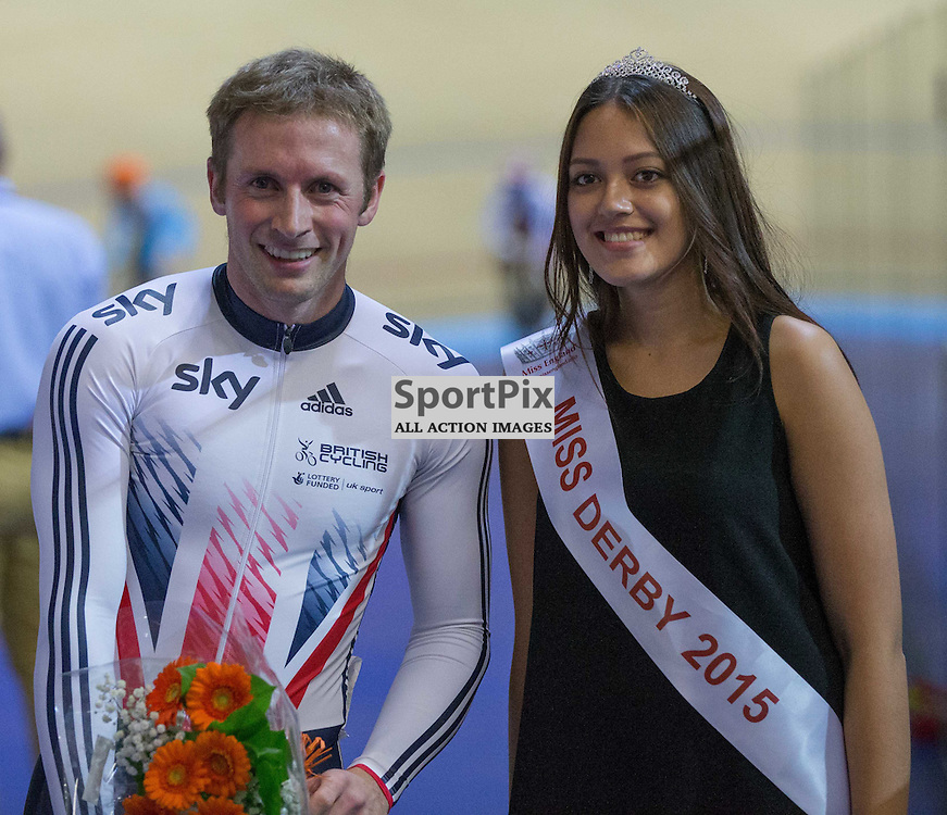 Jason Kenny receives flowers after winning the Men's Keirin at the Revoultion Series 2015/6 Round 1 Derby, Day 3, on 16 August 2015 ( (Photo by Mike Poole - Photopoole)