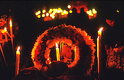 01 NOVEMBER 1997 - PATZCUARO, MICHOACAN, MEXICO: Day of the Dead observances on the island of Pacanda, on Lake Patzcuaro Patzcuaro, Michoacan, Mexico. The communities around Patzcuaro are among the last communities in Mexico with traditional Day of the Dead observances. Day of the Dead is a pre-Columbian holiday honoring deceased friends and loved ones. When Mexico was conquered by the Spanish, indigenous peoples combined the holiday with the Catholic holy day of All Saints Day.   PHOTO BY JACK KURTZ