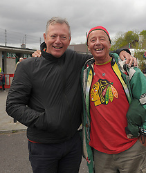 Mayo supporters and former goalkeepers Joe Cuddy and JJ Costello from Claremorris at McHale park.<br />Pic Conor McKeown