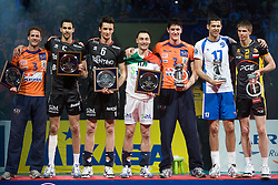 All star team: Daniel Lewis of ACH, Osmany Portuondo Juantorena of Trentino, Lukasz Zygadlo of Trentino, Andrea Bari of Trentino, Matevz Kamnik of ACH, Amaral Dante of Dinamo and Mariusz Wlazly of Belchatow at final ceremony after the  final match of CEV Indesit Champions League FINAL FOUR tournament between Dinamo Moscow, RUS and Trentino BetClic, ITA on May 2, 2010, at Arena Atlas, Lodz, Poland. Trentino defeated Dinamo 3-0 and became Winner of the Champions League. (Photo by Vid Ponikvar / Sportida)