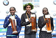 Women's winner Gladys Cherono (KEN), center, poses with runner-up Ruti Aga (ETH), left, and third-place finisher Valary Aiyabei (ETH) during the 44th Berlin Marathon in Berlin, Germany on Sunday, September 24, 2017. (Jiro Mochizuki/Image of Sport)