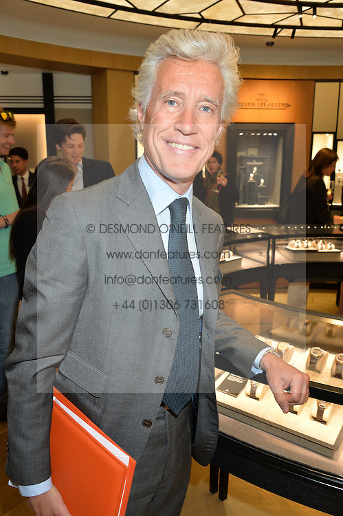 French businessman JEAN FRANCOIS DECAUX at the Jaeger-LeCoultre Gold Cup draw 2016 held at Jaeger-LeCoultre, Bond Street, London on 6th June 2016.
