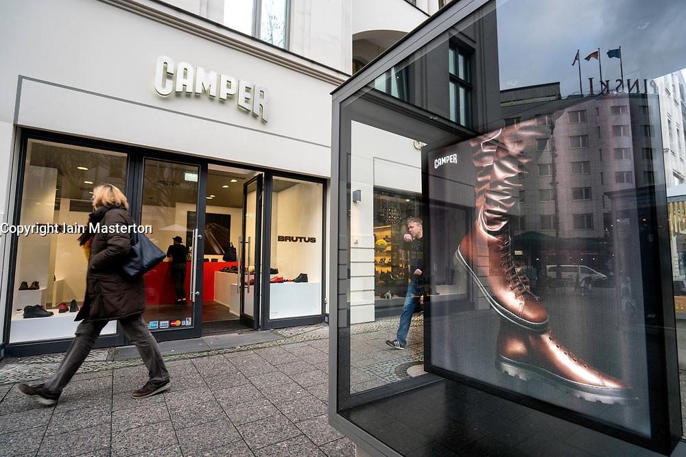 Camper footwear boutique on famous Kurfurstendamm shopping street in Berlin, Germany.