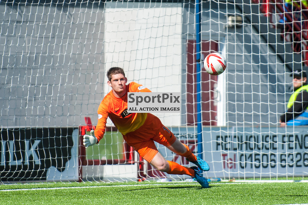 Hamilton Accies goalkeeper Michael McGovern prepares to save a free kick. Action from the Hamilton Accies v Inverness Caledonian Thistle game in the Scottish Premiership at New Douglas Park in Hamilton, 9 August 2014. (c) Paul J Roberts / Sportpix.org.uk