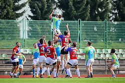 Domen Dobnikar of Slovenia during rugby match between National team of Slovenia (green-blue) and Serbia (red-white) at EUROPEAN NATIONS CUP 2016-17, Conference 2, South, on October 29, 2016, at ZAK Stadium, Ljubljana, Slovenia. Photo by Matic Klansek Velej / Sportida